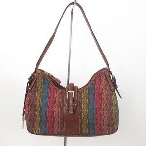 Fossil Hobo Shoulder Bag Leather Tapestry Hang Tag